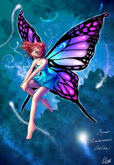 an Anime esque Butterfly winged fairy - I like the color scheme - though the blues and purples wouldn't work for a tattoo - she might be good on ceramics
