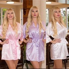 Bridesmaid robes, set of bridal party robes, bridesmaid robe, glitter bridesmaid robes, mother of Satin Nightie, Satin Kimono, Bridal Party Robes, Bridesmaid Robes, White Satin, Mother Of The Bride, Shirt Dress, Trending Outfits, Lady