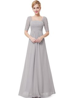 The prom dress is featuring square neck, half sleeve, backless, hollow out, lace panel, solid color and ankle length.