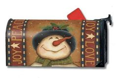 magnetic mailbox wraps: On Sale MailWraps Snowman Peace-Joy-Love Mailbox Cover On Sale Frosty The Snowmen, Snowman, Magnetic Mailbox Covers, Unique Mailboxes, You've Got Mail, Letter Boxes, Mail Boxes, Joy, Lettering