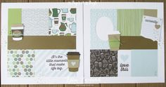 Coffee Break Suite Cafe papers scrapbooking summer school 31 pages days stampin up Lyssa Scrapbook Cover, 12x12 Scrapbook, Scrapbook Sketches, Scrapbook Page Layouts, Scrapbook Supplies, Book Layouts, Scrapbooking Ideas, Coffee Cards, Scrapbook Embellishments