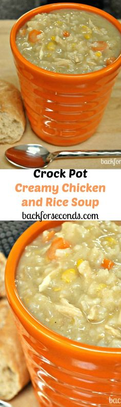 Easy Crock Pot Creamy Chicken and Rice Soup. I added more celery and carrots and cooked it in a dutch oven instead of a crock pot. Also cooked the rice before and added at the end. Total time was about 45 minutes. Crock Pot Recipes, Crock Pot Food, Slow Cooker Recipes, Soup Recipes, Dinner Recipes, Cooking Recipes, Crock Pots, Recipies, Free Recipes