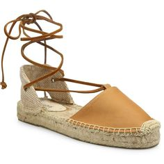 Soludos Leather Lace-Up Espadrilles ($67) ❤ liked on Polyvore featuring shoes, sandals, leather espadrilles, espadrille sandals, espadrille flatforms, leather cap and leather espadrille sandals