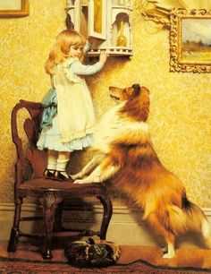 """""""A Little Girl and Her Sheltie"""" by Charles Burton Barber (1845 – 1894,English)"""