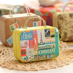 Europe style vintage suitcase shape tin box Stationery Accessories Organizer box Clip Holder&Clip Dispenser case school supplies