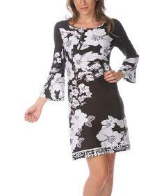 Take a look at this Black & White Scoop Neck Dress by White Mark on #zulily today!