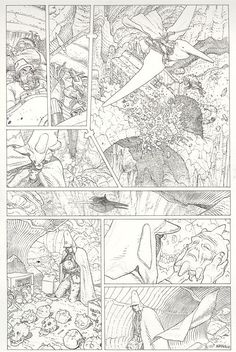 Line art for page 13 of an unpublished wordless black and white edition of Arzak: L'arpenteur by Moebius