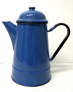Col bolt Blue Porcelain Coffee Tea Pot by UncommonRecycables, $30.00