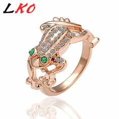 LKO Rose aureate Hollow Twisted Design Ring Fashion Rhinestone Decoration Crystal Element Jewelry for Couples Lovers  R013