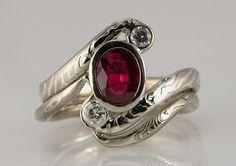 Custom Handcrafted Mokume Gane Engagement Ring by CustomMokumeGane. , via Etsy.