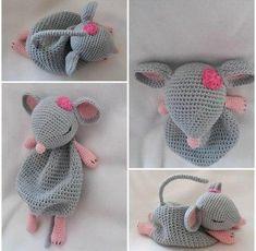 "Kuscheltuch ""Theo"" - Kinder - Leads For Amigurumi Crochet Rabbit, Crochet Mouse, Crochet Amigurumi, Amigurumi Patterns, Amigurumi Doll, Free Crochet, Knit Crochet, Crochet Patterns, Crochet Hats"