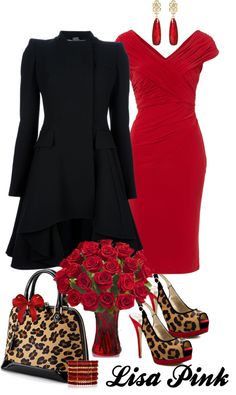 """""""LADY IN RED (AND LEOPARD)"""" by lichiep ❤ liked on Polyvore"""