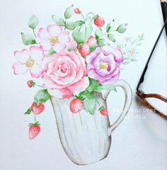 A cup of flowers for you! Flowers For You, Summer Flowers, Watercolor Flowers, Watercolor Paintings, Fall River, Watercolor Illustration, Garden Art, Flora, Autumn