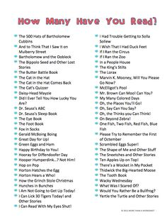 FREE Printable Dr. Seuss book lists…one is in abc order, and one is sorted by grade level. You'll be surprised at how many are 3rd & 4th grade level! Dr Seuss Books List, Doctor Seuss Books, Bartholomew And The Oobleck, Dr Seuss Nursery, Dr Seuss Activities, Sequencing Activities, Dr Seuss Week, Teaching Reading, Teaching Ideas