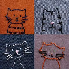 Puppies or kitties – embroidery patterns – Quilting Fabric Art, Fabric Crafts, Sewing Crafts, Sewing Projects, Embroidery Applique, Cross Stitch Embroidery, Embroidery Designs, Cute Embroidery Patterns, Simple Embroidery