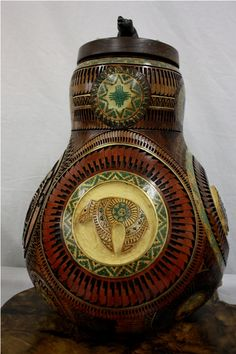Hand carved gourd.