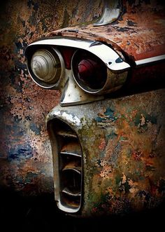actually it's a rusted old Cadillac tail light. Rusted Metal, Metal Art, Things With Faces, Crazy Faces, Pompe A Essence, Rust Never Sleeps, Le Cri, Arte Robot, Rust In Peace