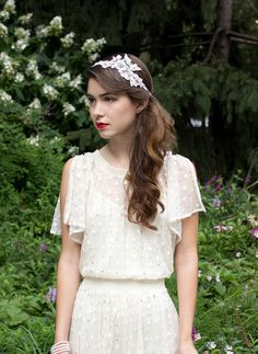 Metallic Silver Lace Wedding Headband Embroidered with Real Pearls, Rhinestones and Crystals on Etsy, $178.51 AUD