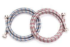 6 ft Premium Washing Machine Hoses Set of 2 Lead Free Stainless Steel with Red and Blue Water Connection Markings and Burst Proof Design