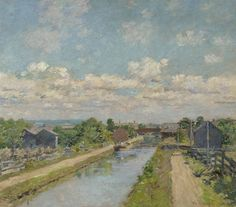 Artwork by Theodore Robinson, Port Ben, Delaware and Hudson Canal, Made of Oil on canvas Theodore Robinson, Delaware, Oil On Canvas, Artwork, Paintings, Inspiration, France, Impressionism, Artists