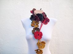 Handmade crochet Lariat Scarf Yellow Red Green  Flower by nurlu, $20.00