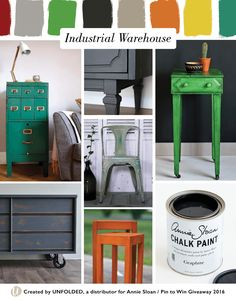 Industrial Warehouse Style Moodboard | Left top: Florence Chalk Paint® by Patchwork Harmony, Left bottom: Graphite Chalk Paint® by The Funky Junk Shop, Center top: Graphite Chalk Paint® by Girl in the Garage, Center middle: Provence and Chateau Grey Chalk Paint®| by Painter in Residence, Simon Ollson, Center bottom: Barcelona Orange Chalk Paint® by Daily Irene, Right top: Antibes Green Chalk Paint® by Annie Sloan, Right bottom: Chalk Paint® decorative paint by Annie Sloan in Graphite