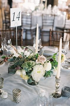 #table-numbers, #centerpiece Photography: Virgil Bunao - virgilbunao.com Read More: http://www.stylemepretty.com/2014/10/15/spring-brooklyn-loft-wedding/