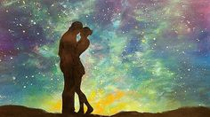 "Easy Acrylic Painting ""Lovers under a Starry Night Sky"" Beginner Step by..."