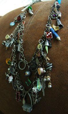 I Love making eclectic jewelry! I call this my Junkyard Necklace! my-stuff Diy Jewellery Chain, Funky Jewelry, Recycled Jewelry, Bohemian Jewelry, Charm Jewelry, Jewelry Art, Beaded Jewelry, Vintage Jewelry, Handmade Jewelry