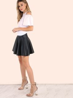 Size Available: XS,S,M,L Length(Cm): Waist Size(Cm): Fabric: Fabric has some stretch Season: Fall Pattern Type: Plain Silhouette: Flared Dresses Length: Mini Color: Black Material: Polyester Spandex Style: Casual Leather Skater Skirts, Black Skater Skirts, White Mini Skirts, Girls In Mini Skirts, Pleated Mini Skirt, Faux Leather Skirt, Skirt Outfits, Dress Skirt, Dress Shoes