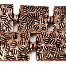 12mm Antiqued Copper Crosshatch Embossed Square Beads, 8 inch, 15 beads