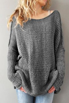 Grey Fashion Round Neck Loose Jumper - US$21.95 -YOINS