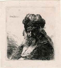 Rembrandt – Old Bearded Man in a High Fur Cap, with Eyes Closed, ca. 1635