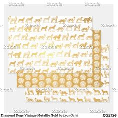 Shop Diamond Dogs Vintage Metallic Gold Foil Wrapping Paper Sheets created by LeonOziel. Metallic Gold, Gold Foil, Silver, Diamond Dogs, Foil Paper, Paper Crafts, Diy Crafts, Creative Gifts, Invitation Cards