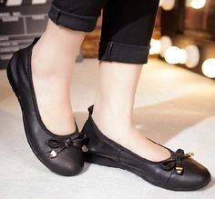 Women's #black leather shoe #loafer easy slip on butterfly lace decorated on vamp, Low cut, Round toe design.