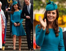 13th of April - Kate continues the New Zealand fern theme with the brooch loaned from the Queen and her teal hat by milliner Jane Taylor.