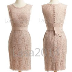 Might be nice for all the weddings coming up : Pearl Pink Lace Party Dresses Short Lace Prom Dresses by LASA2014, $109.00