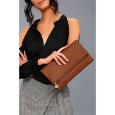Get Up and Go Tan Clutch ($28) ❤ liked on Polyvore featuring bags, handbags, clutches, brown, brown handbags, pebbled-leather handbags, faux leather purses, vegan leather purses and foldover clutches