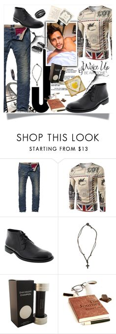 """Wake up - be awesome"" by sasane ❤ liked on Polyvore featuring Deer Stags, American Eagle Outfitters, Davidoff, Wildfox, WALL, Blue Nile, men's fashion and menswear"