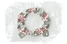 PYKNIC2 Valentine's day beaded stretch heart bracelet by PYKNIC2, $8.50 ❤ www.pyknic2.etsy.com