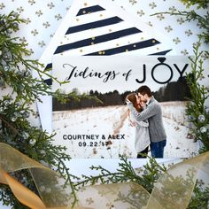 """""""Tidings of joy"""" #holiday card by @engagingpapers . This card doubles as a #save-the-date and features a full-bleed #photo with a bold as well as whimsical print over top."""