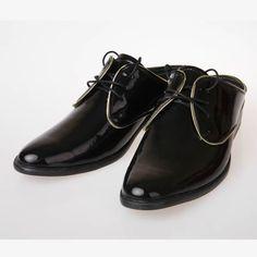 Black Patent Leather Backless Retro Wedding Dress Loafers Shoes Men SKU-1100512