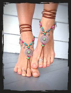 SUNFLOWER BAREFOOT Sandals Hippie FESTIVAL sandals Fleur by GPyoga  This lady has some amazing products that she makes. Find her on Etsy!!