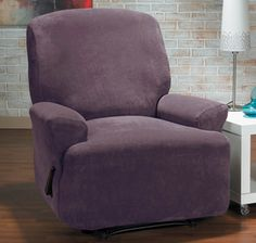 Hanover Aubergine Recliner Slipcover Plush, velvety surface, home decor, purple, plum form fit slip cover design, living room, interior design