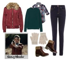 """Nancy Wheeler (Chapter 5)"" by nikitonium on Polyvore featuring Abercrombie & Fitch, Uniqlo, Maison Scotch, Accessorize, Polaroid and WearAll"