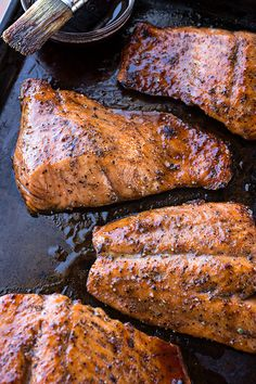 Bourbon-Glazed Salmon, and The Sweet & Spirited Exterior that Holds Within a Tender Interior Salmon Recipes, Fish Recipes, Seafood Recipes, Cooking Recipes, Bourbon Glazed Salmon, 2 Ingredient Cakes, Bourbon Recipes, Fish Dinner, Alcohol Recipes