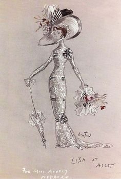 "Costume illustration for ""Eliza Dolittle"" (Audrey Hepburn) for the 'Ascot' scene from 'My Fair Lady' 1964. Design and illustration by Cecil Beaton."