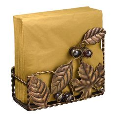Cute Copper Finish Metal Leaf Motif Napkin Holder with Glass Beads