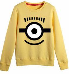 Yellow Long Sleeve Despicable Me Print Sweatshirt