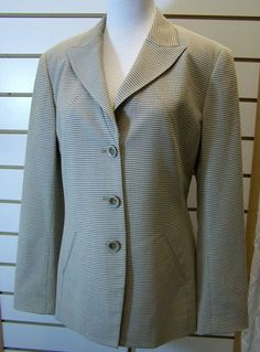 Carlisle Beige Black Textured Wool Silk Lined Jacket Blazer 6